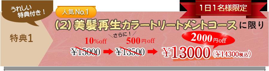 人気№1 美髪再生カラートリートメントコースに限り10%off+500円offの¥2000off!